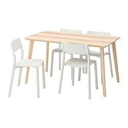 LISABO /  JANINGE table and 4 chairs, ash veneer, white