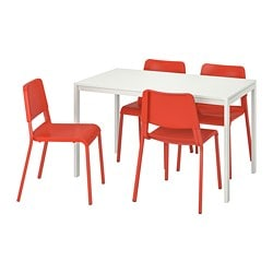 MELLTORP /  TEODORES table and 4 chairs, white, bright orange