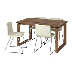 MÖRBYLÅNGA /  BERNHARD table and 4 chairs, brown, Mjuk white