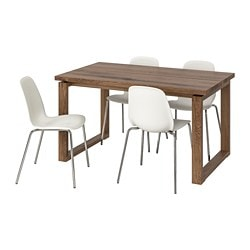 MÖRBYLÅNGA /  LEIFARNE table and 4 chairs, brown, white