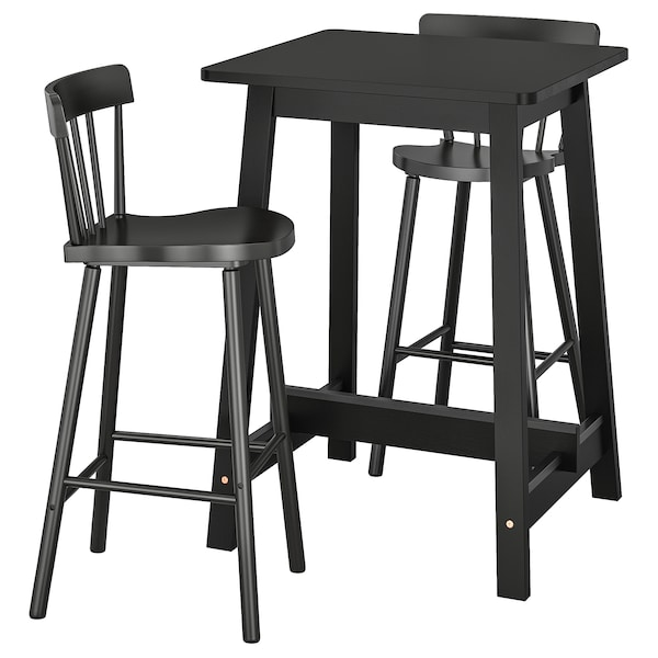 design intemporel d38b9 bbd0a NORRÅKER / NORRARYD Table haute + 2 tabourets bar, noir, noir