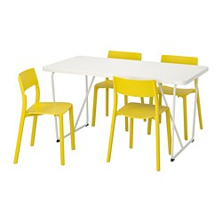 RYDEBÄCK/ BACKARYD /  JANINGE table and 4 chairs, white, yellow