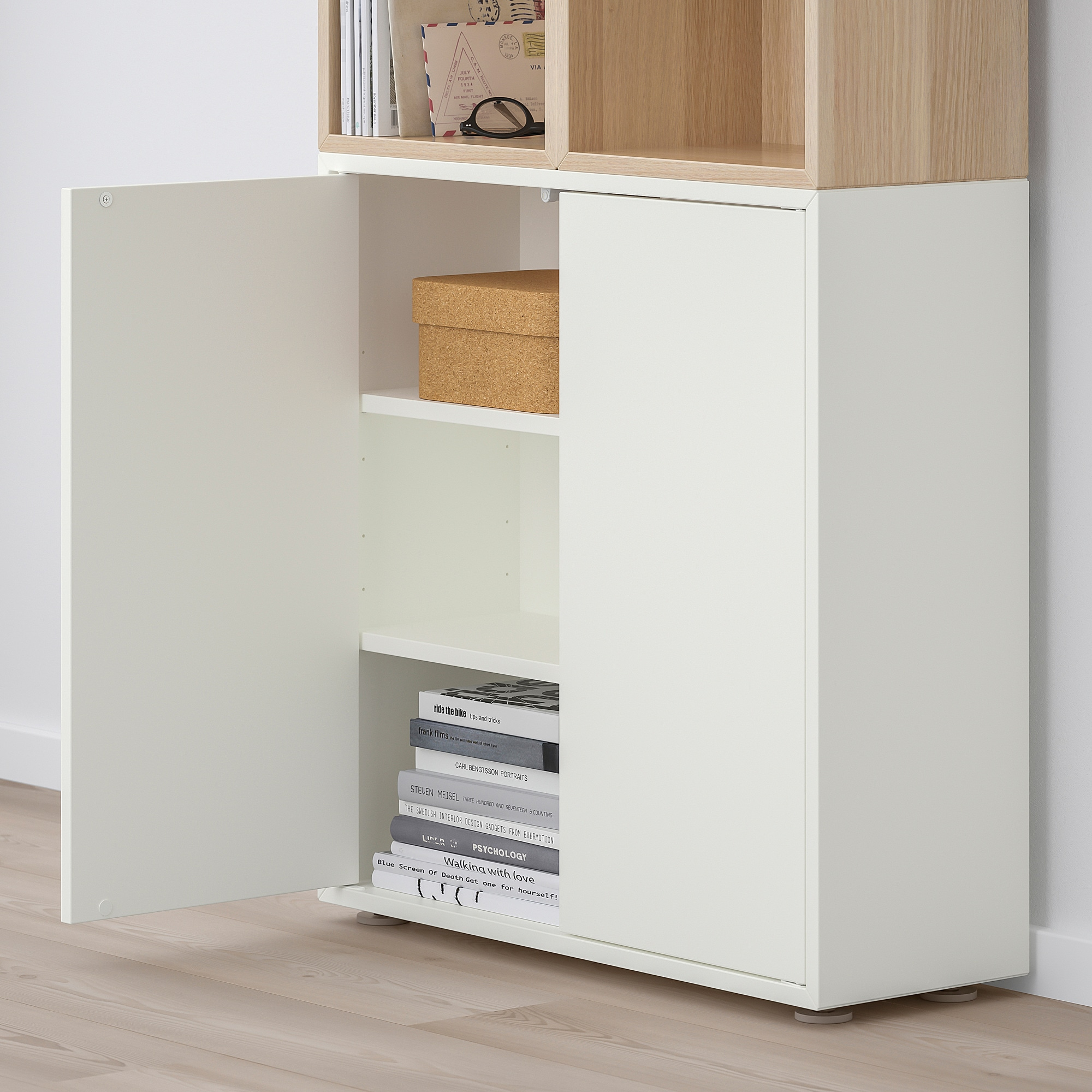 EKET Cabinet combination with feet, white, white stained oak effect