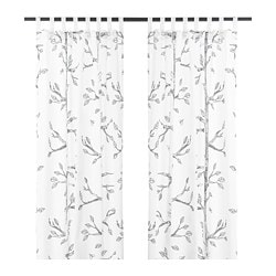 NANFRID curtains, 1 pair, white/black