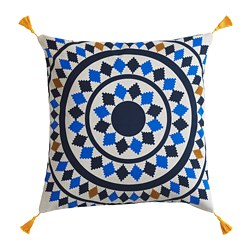 TILLTALANDE cushion cover, circle pattern, blue/natural