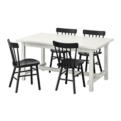 NORDVIKEN /  NORRARYD table and 4 chairs, white, black