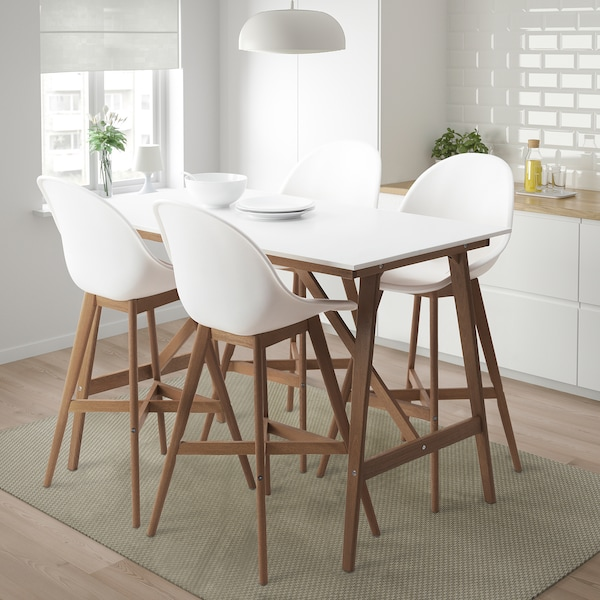 White Bar Table And Stools: FANBYN Bar Table And 4 Bar Stools