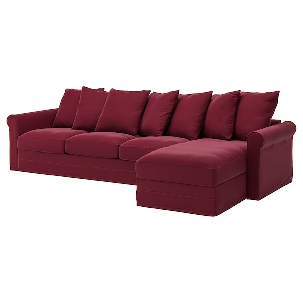 Divano Rosso Ikea.Sectional 4 Seat Gronlid With Chaise Ljungen Dark Red