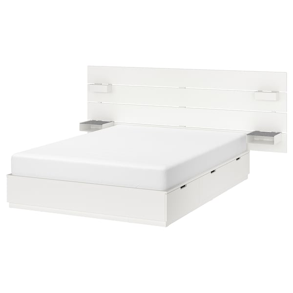 Bed With Headboard And Storage Nordli White