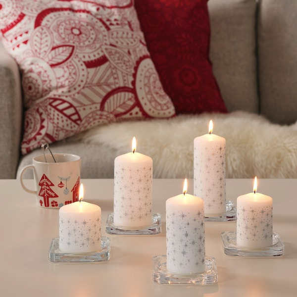 Us Candle Zwolle.Unscented Block Candle Set Of 5 Vinterfest Star White