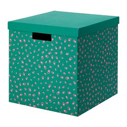 TJENA storage box with lid, green dotted