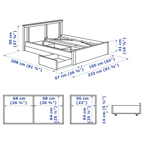 IKEA SONGESAND Bed frame with 2 storage boxes