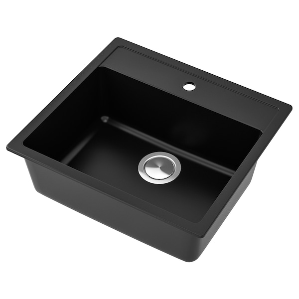 Sink HÄLLVIKEN black, quartz composite