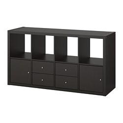 KALLAX shelving unit with 4 inserts, black-brown