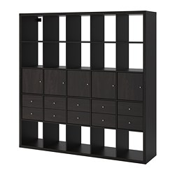 KALLAX shelving unit with 10 inserts, black-brown
