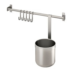 KUNGSFORS rail with 5 hooks and 1 container, stainless steel