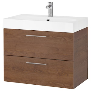Color: Brown stained ash effect/brogrund faucet.