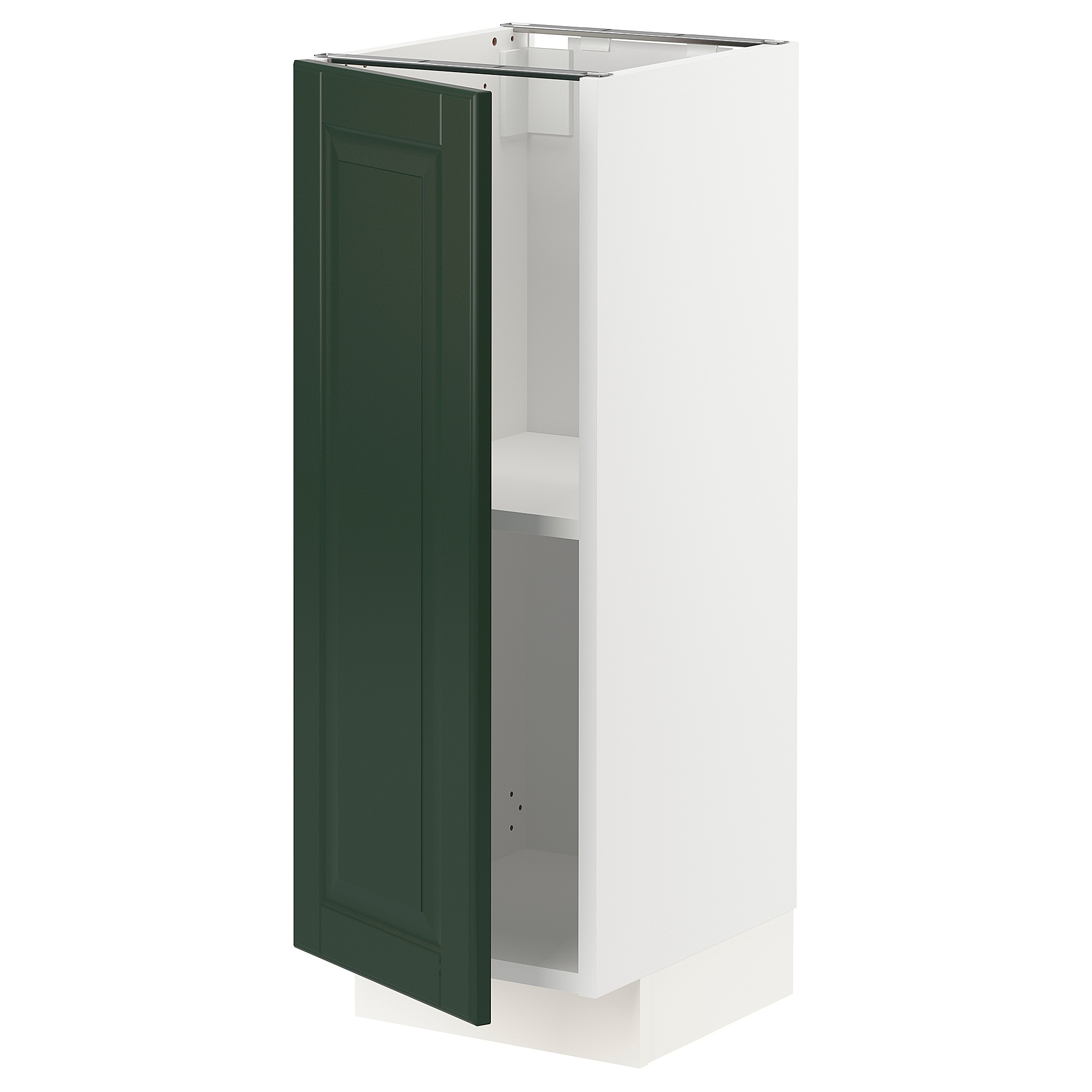 Base cabinet with shelves METOD white, Bodbyn dark green