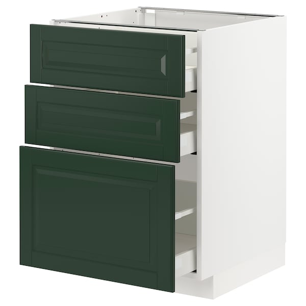 Base cabinet with 3 drawers METOD / MAXIMERA white, Bodbyn dark green