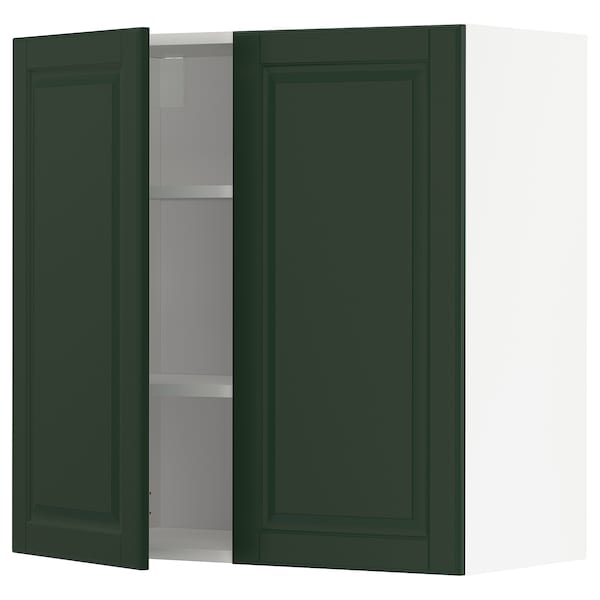 Wall cabinet with shelves/2 doors METOD white, Bodbyn dark green