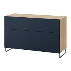 BESTÅ storage combination w doors/drawers, white stained oak effect, Notviken/Sularp blue