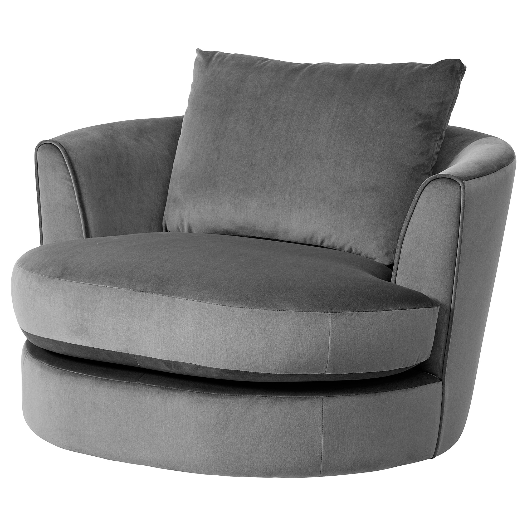 FASALT Swivel armchair - velvet grey - IKEA