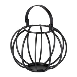FÖRUNDERLIG block candle holder, black