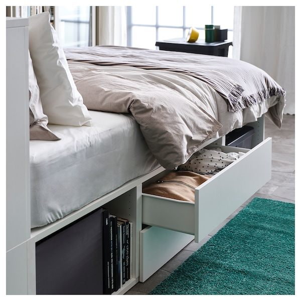 big sale 23fe4 a45f7 Bed frame with 2 drawers PLATSA white, Fonnes