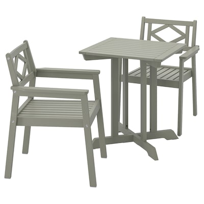 bondholmen table 2 chairs w armrests outdoor grey stained