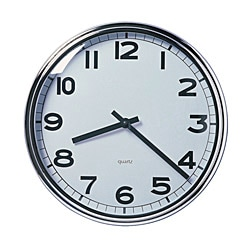 "PUGG wall clock, chrome plated stainless steel Depth: 2 "" Diameter: 12 ½ "" Depth: 5 cm Diameter: 32 cm"