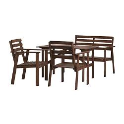 TULLERÖ table, bench and 2 armchairs, brown