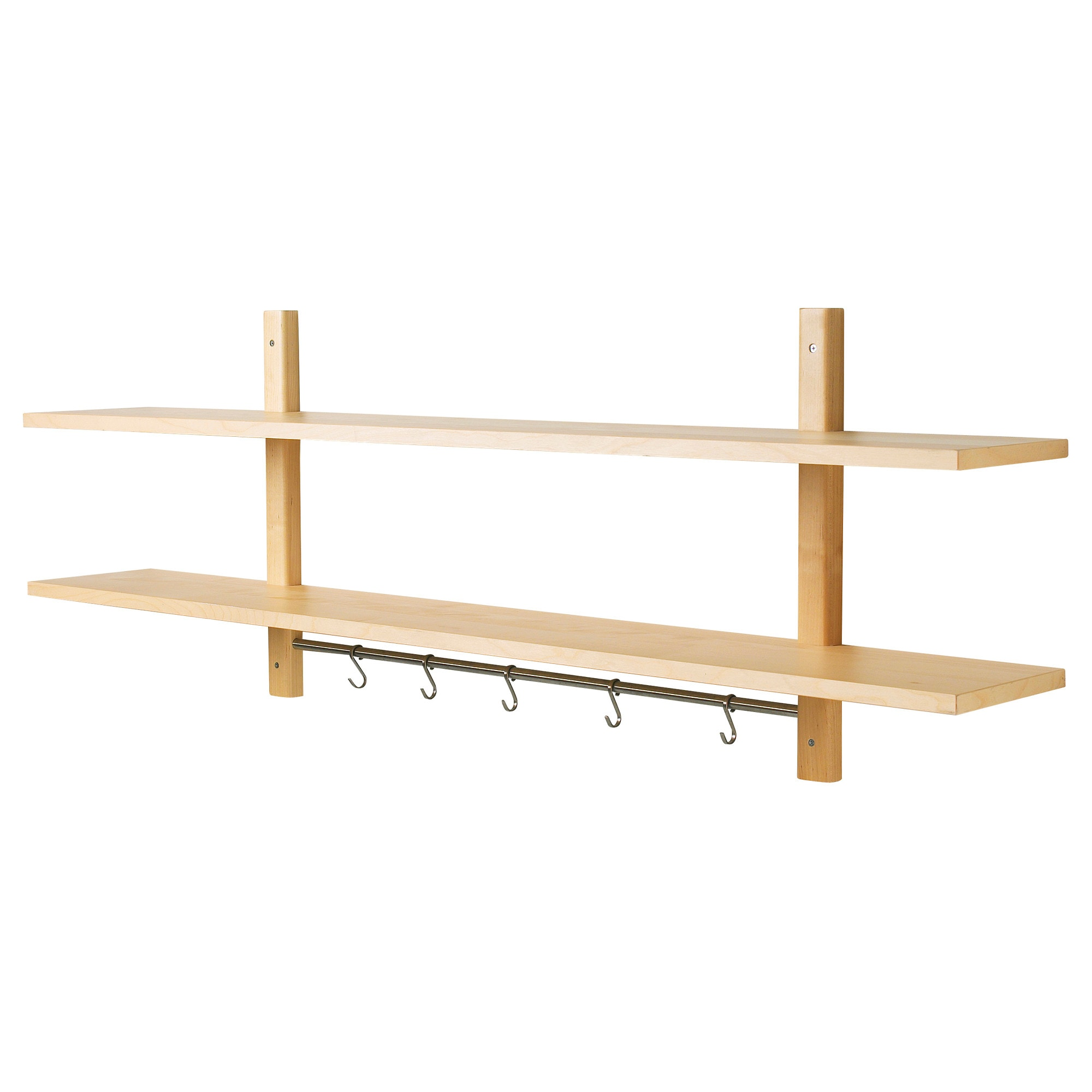 Ikea varde wall kitchen shelf with 5 hooks solid birch ebay for Etagere murale avec rebord