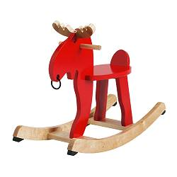 EKORRE rocking-moose, red, rubberwood