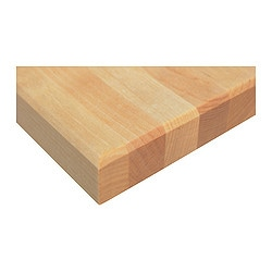 "VÄRDE countertop, birch Length: 57 1/2 "" Depth: 25 5/8 "" Thickness: 1 1/8 "" Length: 146 cm Depth: 65 cm Thickness: 2.7 cm"