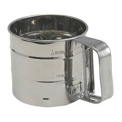 "IDEALISK flour sifter, stainless steel Diameter: 4 ¼ "" Height: 3 ¾ "" Diameter: 10.5 cm Height: 9.5 cm"