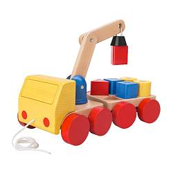 "MULA crane with blocks, beech, multicolor Length: 11 "" Width: 6 "" Height: 4 ¼ "" Length: 28 cm Width: 15 cm Height: 11 cm"