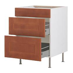 "AKURUM base cabinet with 3 drawers, Ädel medium brown, white Width: 18 "" Depth: 24 7/8 "" Height: 30 3/8 "" Width: 46 cm Depth: 63 cm Height: 77.1 cm"