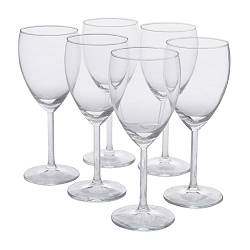"SVALKA white wine glass, clear glass Height: 7 "" Volume: 8 oz Package quantity: 6 pack Height: 18 cm Volume: 25 cl Package quantity: 6 pack"