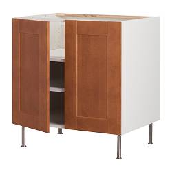 "AKURUM base cabinet w shelf/2 doors, Ädel medium brown, white Width: 35 7/8 "" Depth: 24 3/4 "" Height: 30 3/8 "" Width: 91.2 cm Depth: 62.8 cm Height: 77.1 cm"