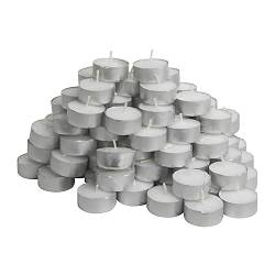 "GLIMMA unscented tealights Diameter: 1 ½ "" Burning time: 4 hr Package quantity: 100 pack Diameter: 38 mm Burning time: 4 hr Package quantity: 100 pack"