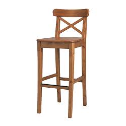 INGOLF bar stool with backrest, antique stain Width: 40 cm Depth: 45 cm Height: 91 cm