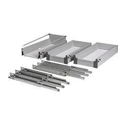 RATIONELL fully-extending drawer, set of 3, silver-colour Frame, width: 30 cm Depth: 53 cm Max. load/drawer: 25 kg