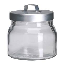 "BURKEN jar with lid, aluminum, clear glass Diameter: 4 "" Height: 4 "" Volume: 17 oz Diameter: 10 cm Height: 10 cm Volume: 0.5 l"