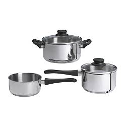 ANNONS, 5-piece cookware set, glass, stainless steel