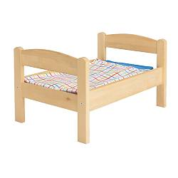 DUKTIG doll's bed with bedlinen set, multicolour, pine Length: 52 cm Width: 36 cm Height: 30 cm