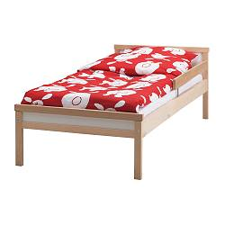 "SNIGLAR bed frame with slatted bed base, beech Length: 65 "" Width: 30 3/8 "" Footboard height: 14 1/8 "" Length: 165 cm Width: 77 cm Footboard height: 36 cm"