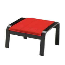 POÄNG footstool, Alme medium red, black-brown Width: 68 cm Depth: 53 cm Height: 39 cm