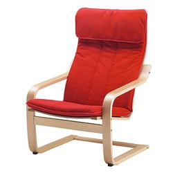 POÄNG armchair, Alme medium red, birch veneer Width: 68 cm Depth: 82 cm Height: 100 cm