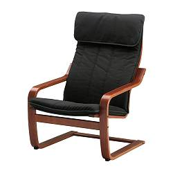 POÄNG armchair, medium brown, Ransta black