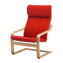 POÄNG armchair, Alme medium red, oak veneer Width: 68 cm Depth: 82 cm Height: 100 cm